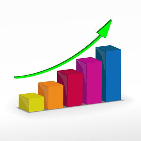 3D Growth bar graph  Vector business concept