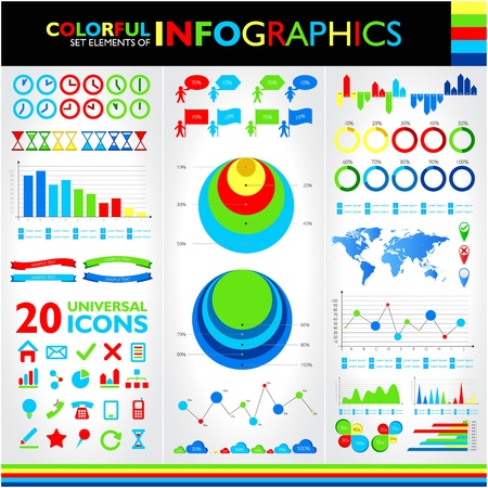Colorful infographics set and vector universal icons   Vector