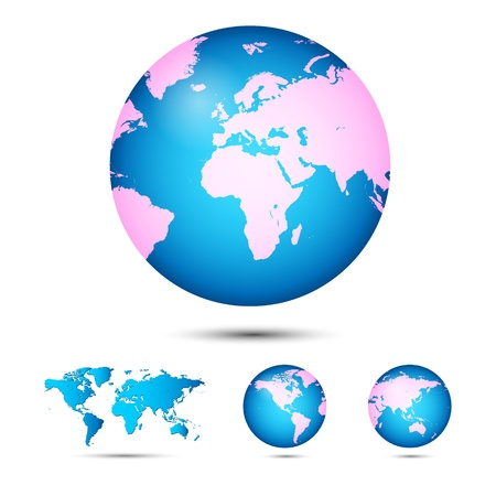 World map. Globe. Earth. Planet. Vector Illustration Vector