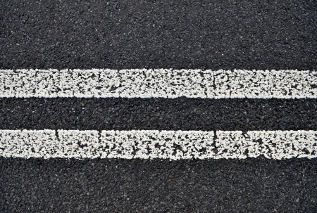solid line: Asphalt road with white double solid line