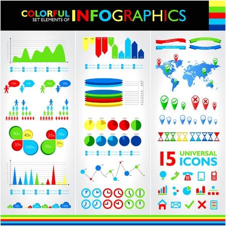 カラフルなインフォ グラフィック セット