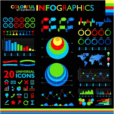 Colorful infographics set on black background and icons set. Vector