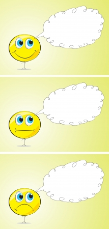 moods: funny man of different moods and speech bubble