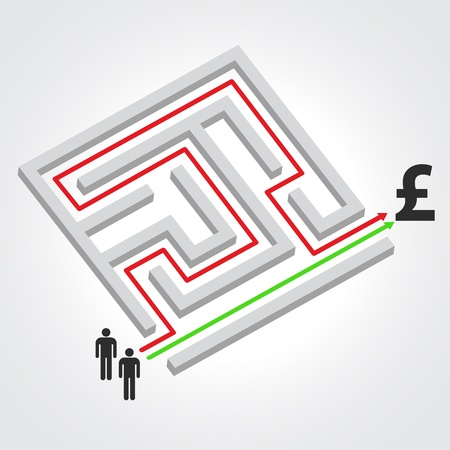 Labyrinth with arrow, people and pound symbol  Vector