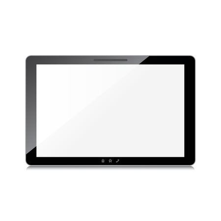 Black tablet computer isolated on white background.  Stock Vector - 20871803