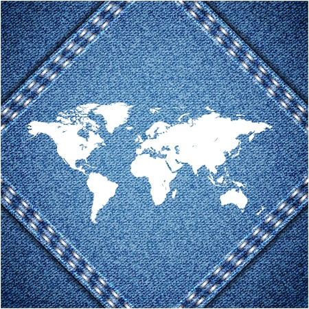 realist: World map on jeans background texture.