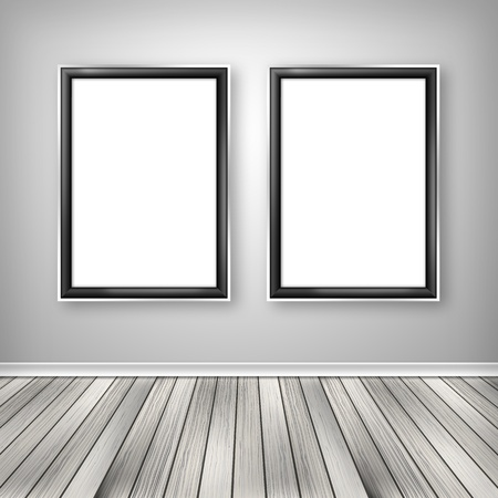 Two empty frames on a wall  photo