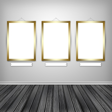 Three empty frames on a wall  photo