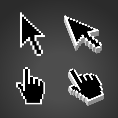 Black Two or Three dimensional Shape Cursor set.  Vector