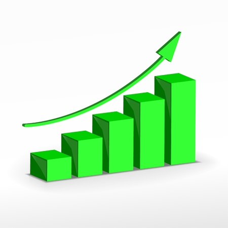 3D Growth bar graph. business concept.