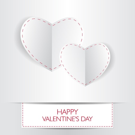 Love card Happy Valentines Day concept. Heart shape with shadow.  Vector