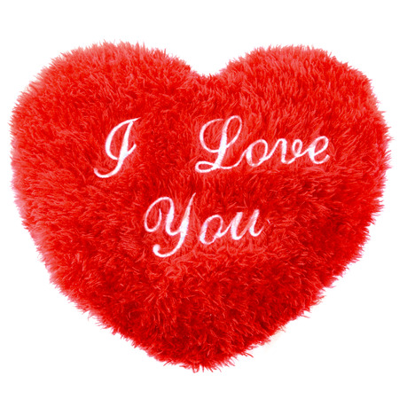 Fluffy I Love You heart shape Valentines Day pillow photo