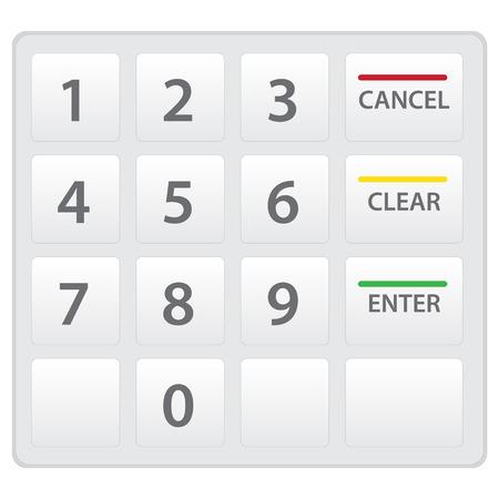 Atm のキーパッドは、白で隔離されます。ベクトルのバージョンです。  イラスト・ベクター素材