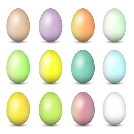 Easter eggs set. Colorful vector illustration.