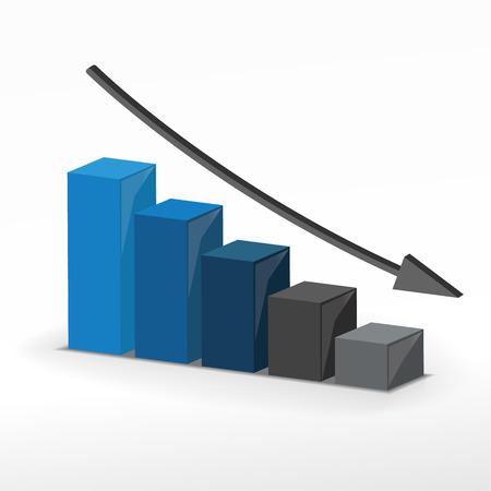 3 D ビジネス減少グラフ。ベクトル ビジネス コンセプト