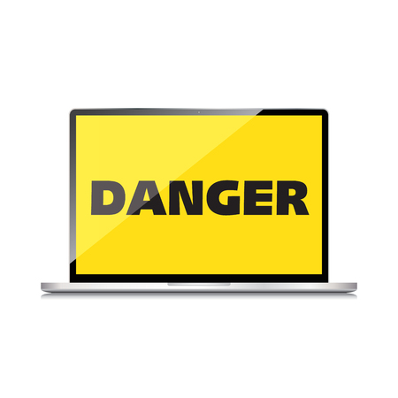 High-quality laptop screen with the text warning sign Danger Vector