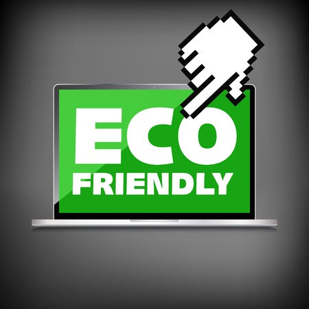 Eco friendly word on High-quality laptop screen. Think Green. Ecology Concept. Environmentally friendly planet. Vector