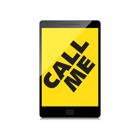 High-quality smartphone screen with the text message Call me. Vector