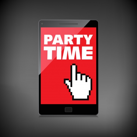 Party time words display on High-quality smartphone screen. Illustration