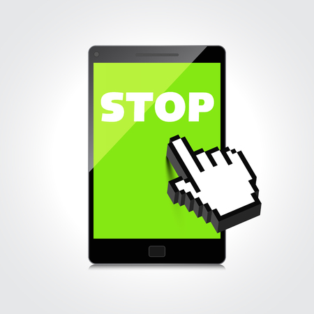 Stop word display on High-quality smartphone screen. Vector