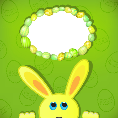 Easter bunny look up in blank space. Easter background. Illustration