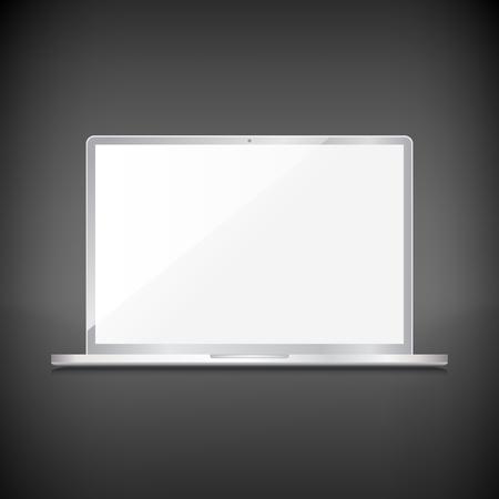 Realistic laptop clean screen, isolated on dark background Vector