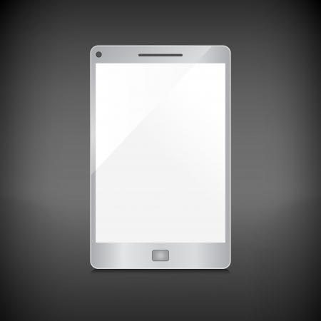 Realistic smartphone with blank screen isolated on dark background