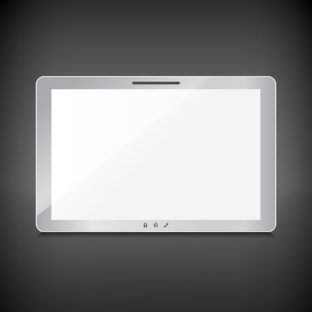 Realistic tablet with blank screen isolated on dark background Vector