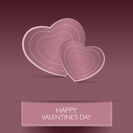 Love card Happy Valentines Day concept. Heart shape with shadow. Vector illustration