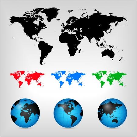 World map. Globe. Earth. Planet. Vector Illustration