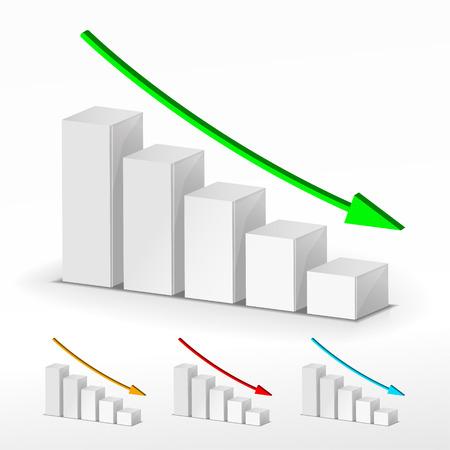 3D business decline graph. Vector business concept Vector