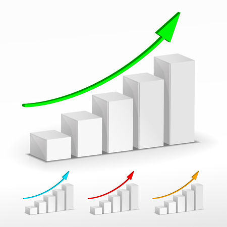 3D Growth bar graph. Vector business concept. Vector