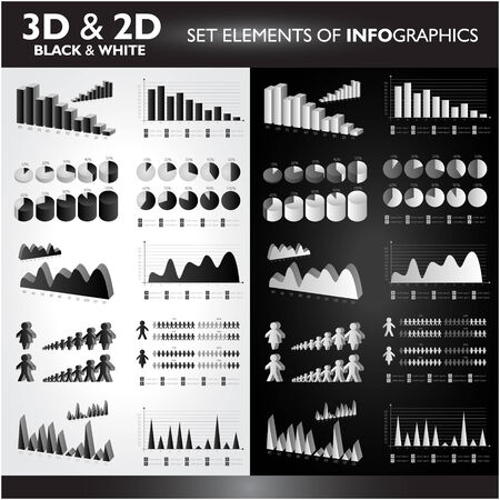 3D and 2D Black&White Set elements od Infographics Vector