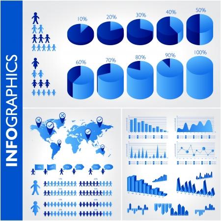 Blue infographics. Universal vector icons set. Statistic. Illustration