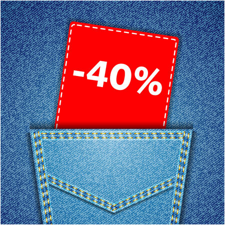 Blue back jeans pocket realistic denim texture with number percent sale tag Vector
