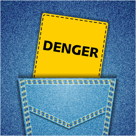 Blue back jeans pocket realistic denim texture with danger tag Vector