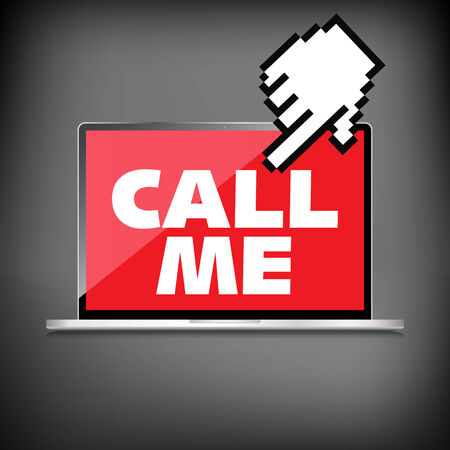 call me: High-quality laptop screen with the text message Call me. Illustration