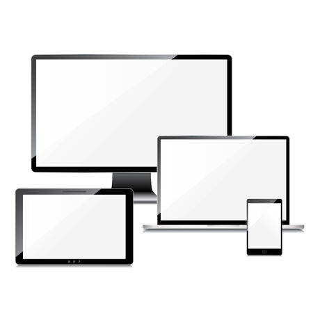 screen type: Blank screens set, isolated on white background