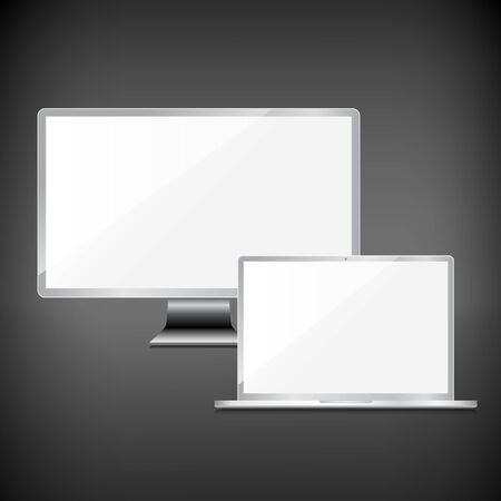 Realistic blank sliver screens set on dark background Vector