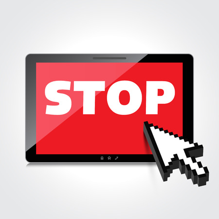 Stop word display on High-quality tablet screen. Vector