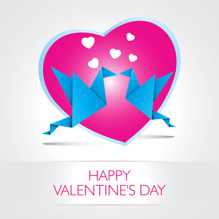 Two kissing origami birds. Love card concept Happy Valentines Day and heart shape  Vector