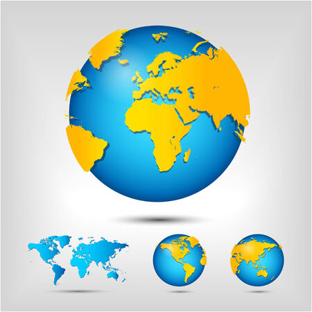 realist: World map. Globe. Earth. Planet. Vector Illustration