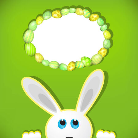 easter background: Easter bunny look up in blank space. Easter background. Stock Photo