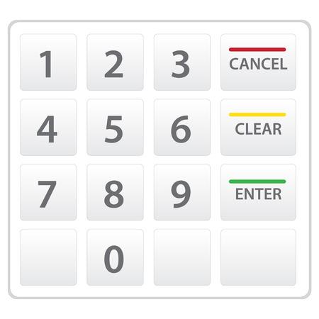 Atm のキーパッドは、白で隔離。ベクトルのバージョンです。