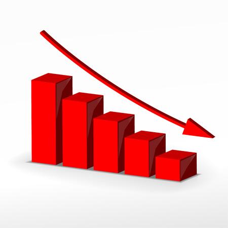 3D grafico declino di business. Vector concetto di business Archivio Fotografico - 25738910