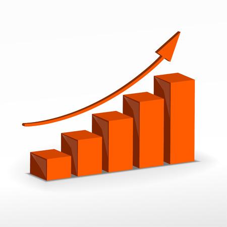 3D Growth bar graph. Vector business concept. Illustration