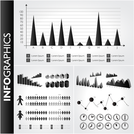 Black and white infographics set. Vector icons. Vector