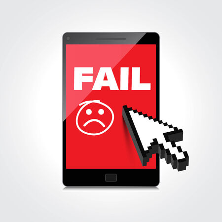 unaccepted: Fail and lost concepts display on High-quality smartphone screen. Illustration