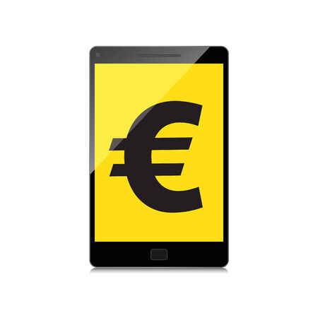 fiscal: High-quality smartphone screen with the Euro sign. Economy concept.