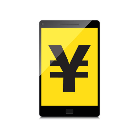 palmtop: High-quality smartphone screen with the Yen symbol. Economy concept.